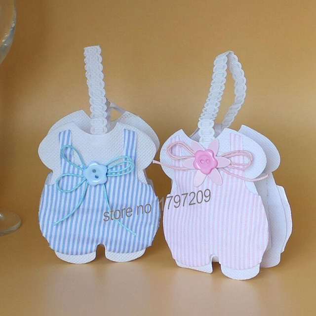 Free Shipping 36pcs/lot Pink U0026 Blue Baby Dress Candy Favor Bags Bag For Baby