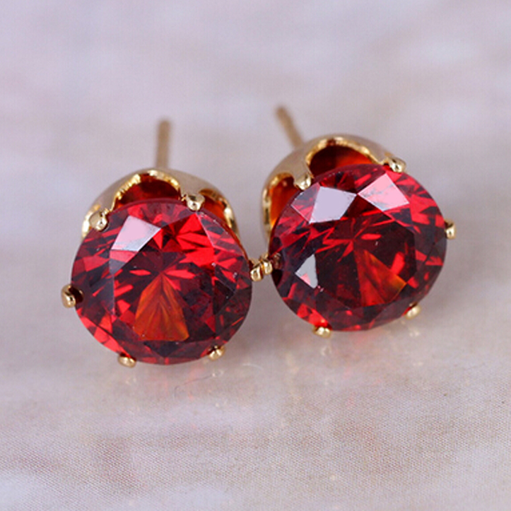 stud jewelry red emona earrings ruby crystal swarovski en
