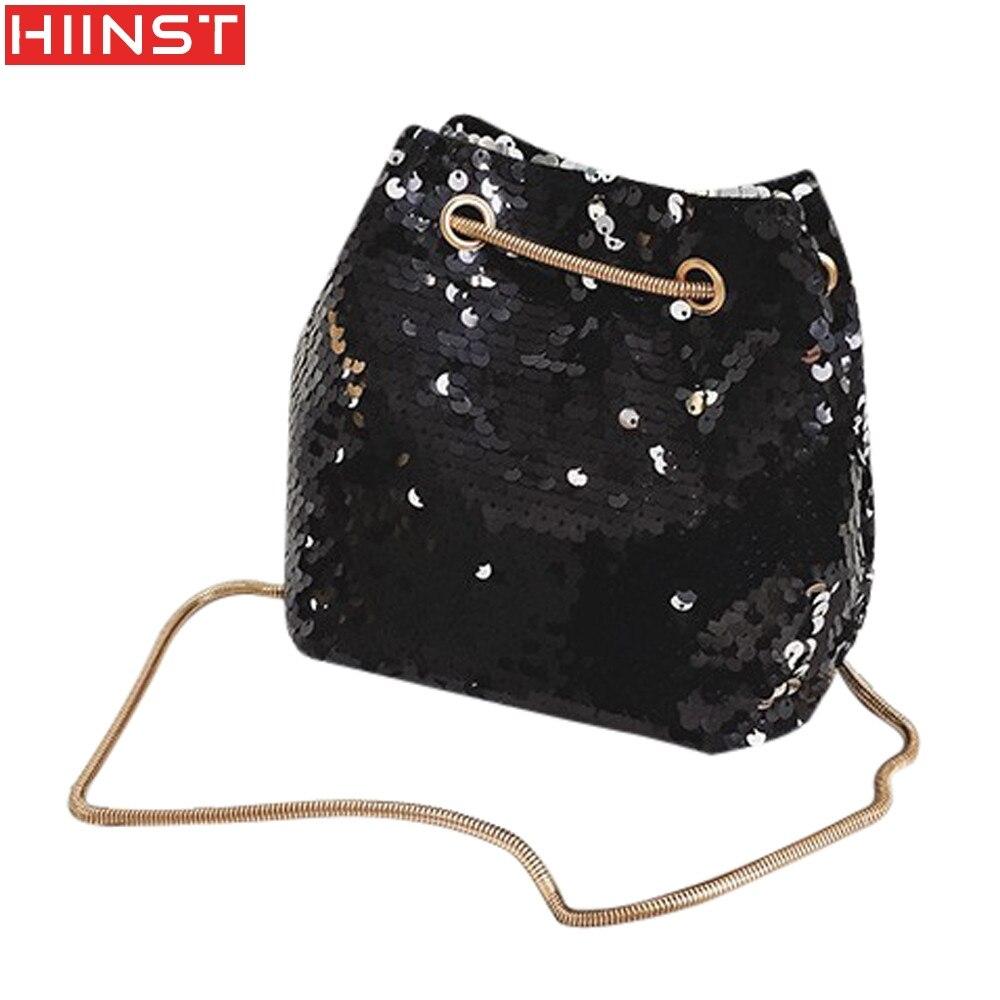 Women Girl Fashion Shoulder Bag Female Bling Sequin Bucket Bag Crossbody Bag