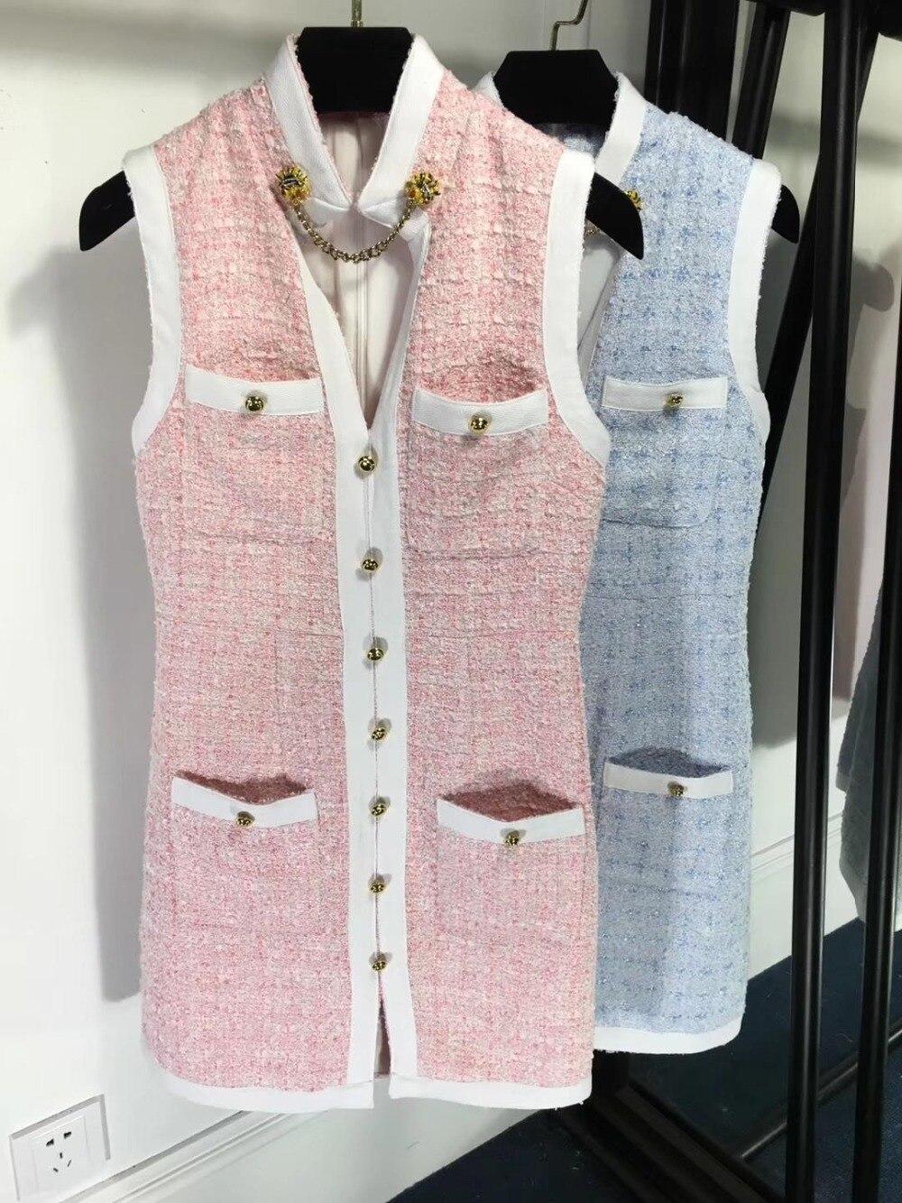 2019 новые женские элегантные без рукавов модное твидовое платье 0313