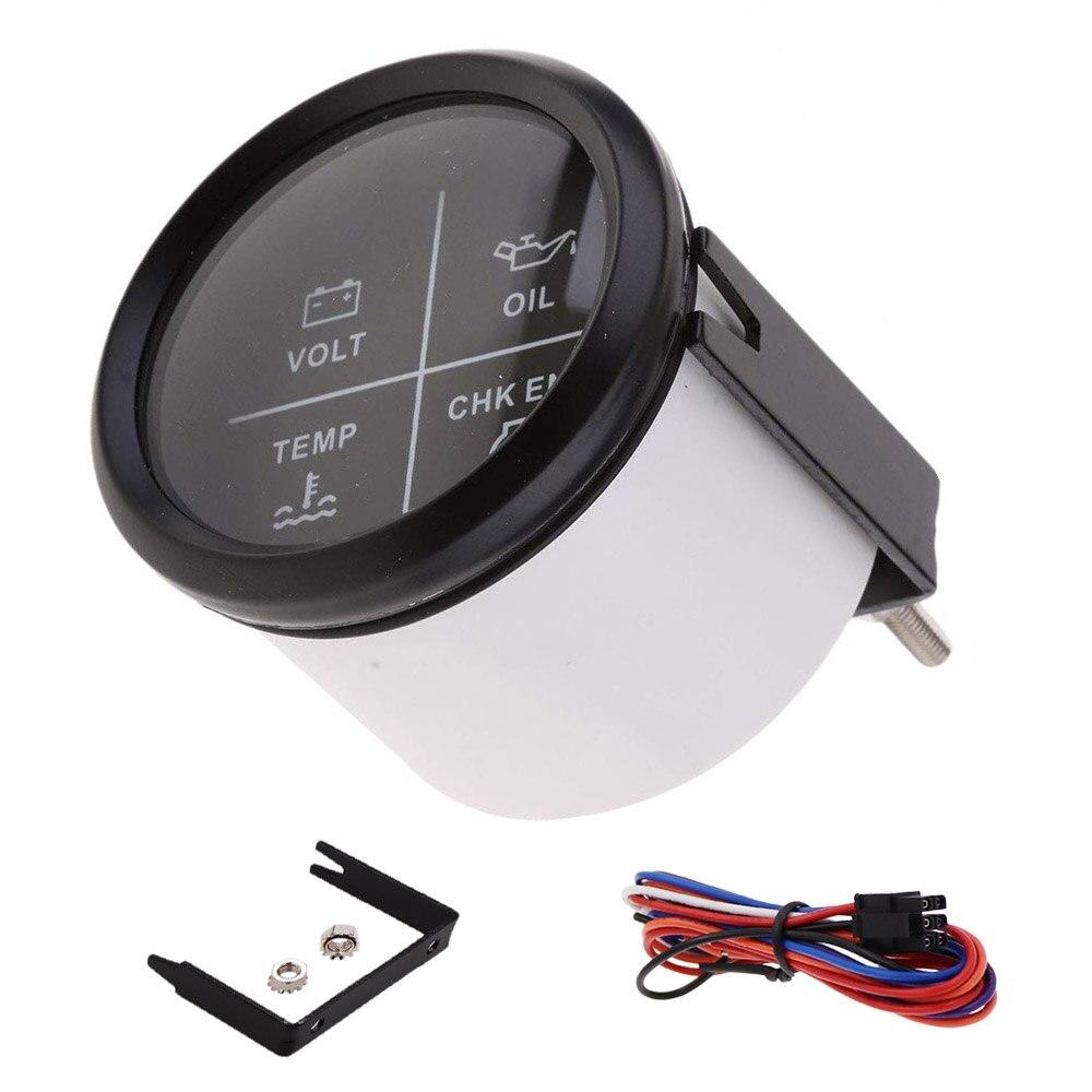 52 Mm Alarm Gauge Meter 9 ~ 32 V Volt/Olie/Water Temp/Check Engine 4 Led alarm Indicator Gauge Fit Auto Boot Met Backlight