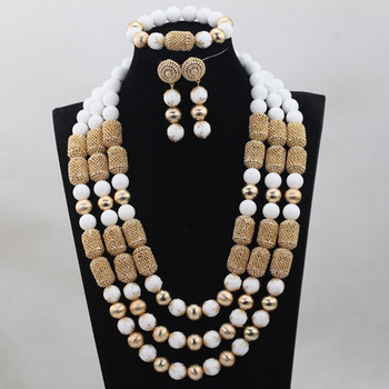 Fashion White/Yellow Coral Beads Jewelry sets African Wedding Bridal Beads Necklace Jewelry Set Free Shipping CJ815
