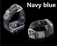 2016 de la moda de camuflaje correa de piel genuina para apple watch band 42mm 38mm reemplazo pulsera al aire libre deportes banda para iwatch