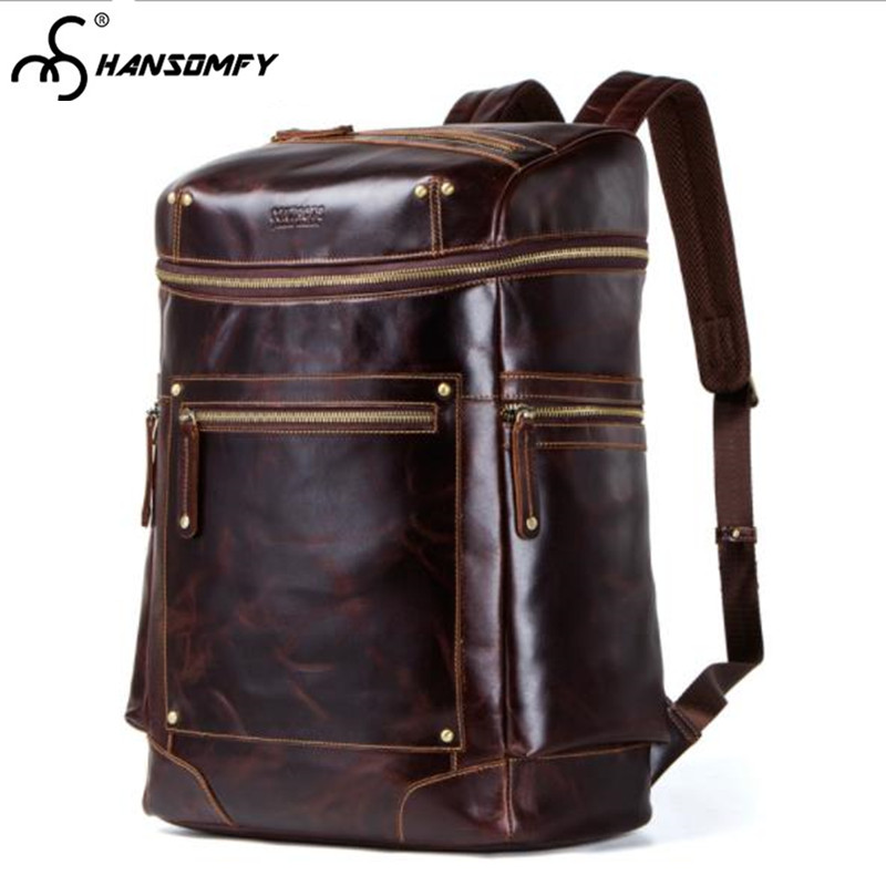 Genuine Leather Men Backpacks Vintage Crazy Horse Leather male Original retro Multifunction Large capacity travel Backpack Bags multifunction genuine leather men backpack bag vintage crazy horse cow leather large capacity travel rucksack anti thief mochila