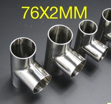 2PCS/LOT 76X2mm  304 Stainless Steel Tee Pipe Quick Installation Welded Fittings