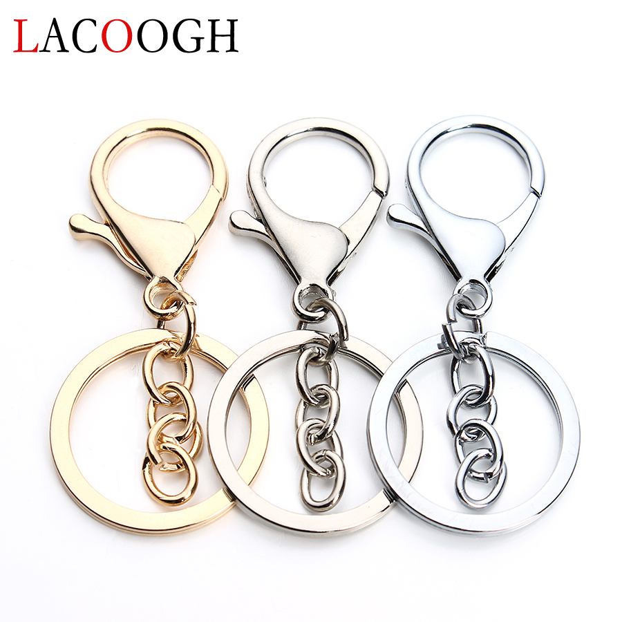 Wholesale 5pcs/lot Dia 30mm Luxury KC Gold/Rhodium Color Lobster Clasps Hooks Key Chain with Key Rings for Jewelry Findings