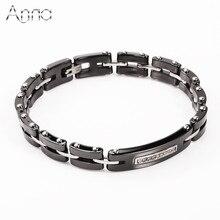 A & N Acier Inoxydable Hologramme Bracelets Bracelets Noir et Blanc En Céramique Bracelets Délicat Zircon Décoration Vente Chaude En Céramique Bijoux