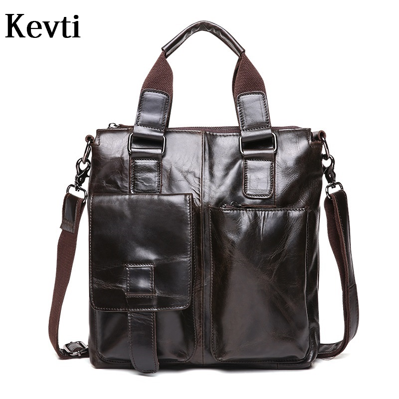 KEVTI Designer 2017 Genuine Leather Men's handbag high quality Cowhide Vintage Male shoulder bags Casual cool business bag  kevti brand genuine leather women handbag high quality cowhide female shoulder bags casual crossybody bag european style hobos