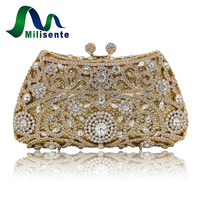New Arrival 2016 Clutch Purse Silver Crystal Evening Bag Women Wedding Party Bridal Handbags Gold Sky