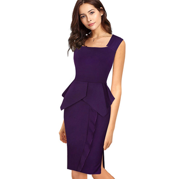 Casual Women Office Work Solid Sleeveless Pencil Dress Elegant Square Collar Bodycon Knee-Length Slim Summer Dress  1