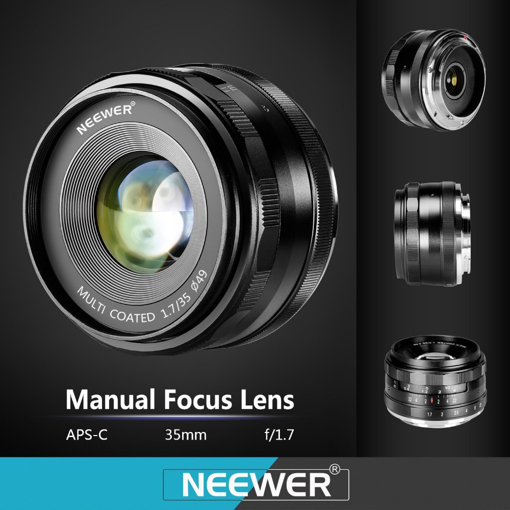 Neewer 35mm f/1.7 Manual Focus Prime Fixed Lens for SONY E-Mount Digital Cameras Such as NEX3, 3N, 5, 5T,A6000, A6100 and A6300 25mm f 1 8 hd mc manual focus lens for sony e nex mount camera a7r a7s a7rii a7sii a6500 a6300 a6000 a6100 a50000 a5100 a3000