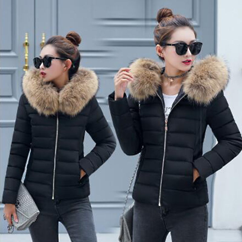 Winter Coat Women Parka  Hooded Slim Fur Collar Cotton Padded Jacket Coats Female Warm Short Parkas Outwear Plus Size