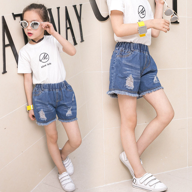 a0804056f71 US $9.82 18% OFF|Fashion Girls Denim Blue Mini Ripped Shorts Cheap Custom  Girl Jeans Shorts Teenager Summer Kids Denim Shorts For Girls-in Shorts  from ...