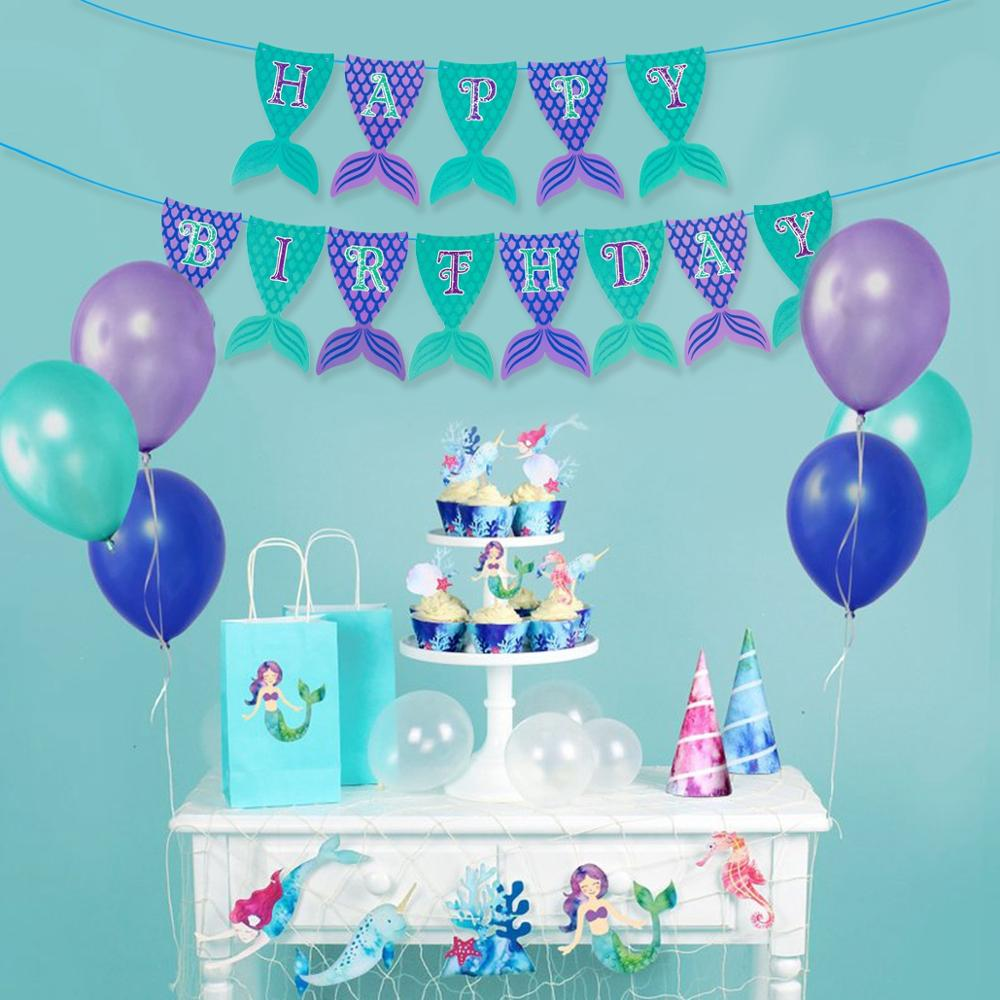 FENGRISE Little Mermaid Birthday Party Supplies Tablecloth Mermaid Themed Parties Decorations For Table Balloons Decor in Party DIY Decorations from Home Garden