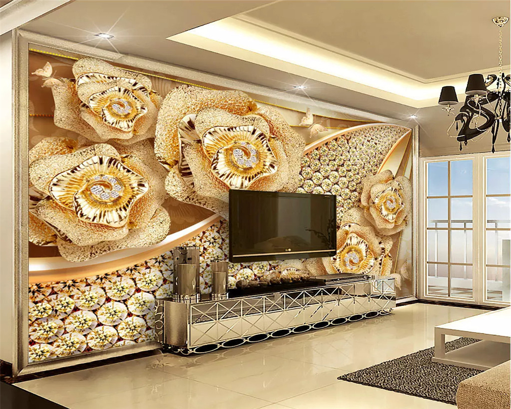 Beibehang Custom Mural 3d Wallpaper For Bedroom Walls 3D Luxury Floral jewelry Background Wall Paper Home
