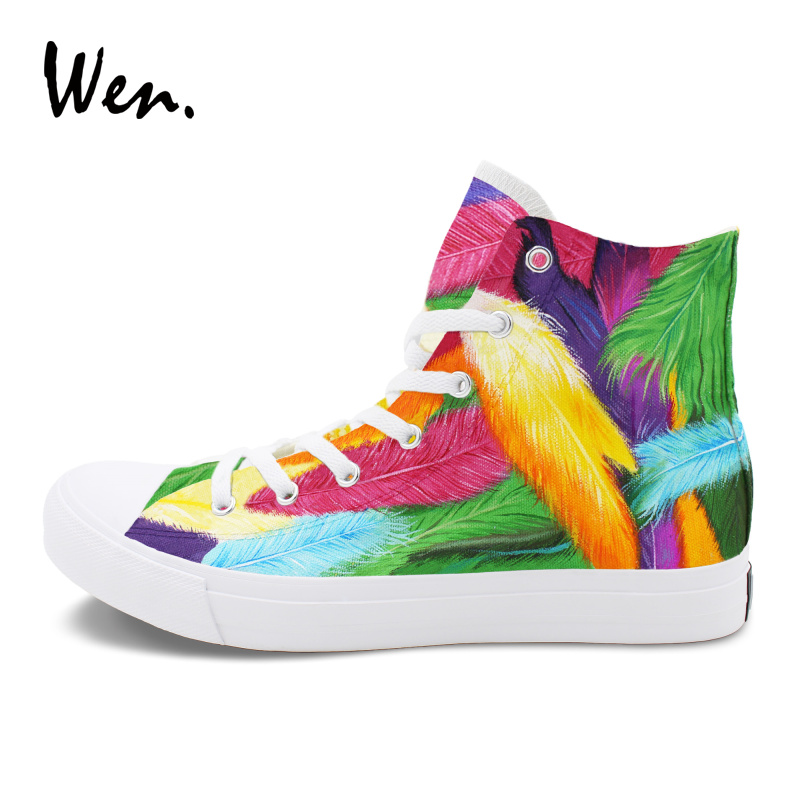 Wen Graffiti Painting Sneakers Women Men Original Design Colorful Feathers Hand Painted Canvas Shoes High-Top Plimsolls wen design custom hand painted canvas fashion shoes colorful lipsticks high top shoes sneakers white graffiti shoes men women