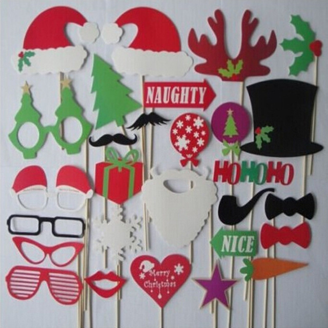 Free Shipping 28PCS/Lot Christmas Photo Booth Props Photobooth Funny ...