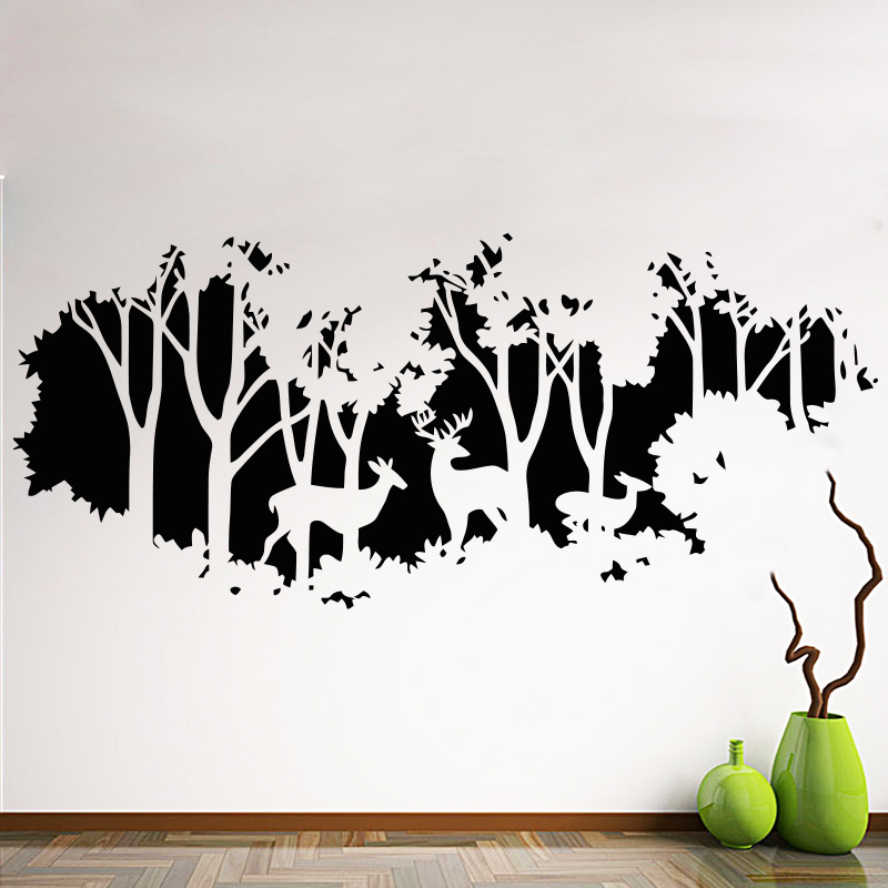 Art New Design Home Decoration Vinyl Deers In Forest Wall Sticker Removable Cheap PVC House Decor Trees And Animal Decals