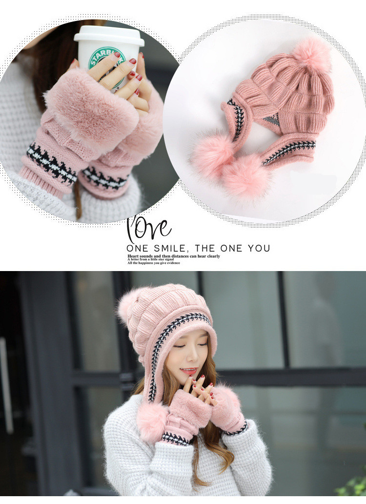 New Autumn And Winter Korean Version Of The Warm Women Hat Gloves Set Knitted Hair Ball Two Sets Of Ladies Thickening HC37 (8)