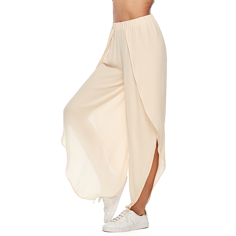 Side Split Lady Chiffon Wide Leg   Pants   Women Summer Beach High Waist Trousers Chic Streetwear Casual   Pants     Capris   Female