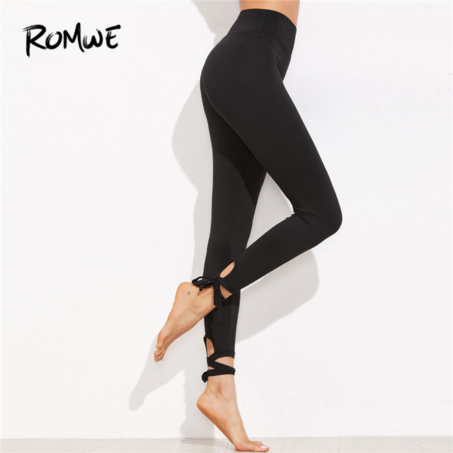 d31836c71fc103 Romwe Ladies Lace Up Hem Leggings 2018 New Arrival Black Knot Woman Bottoms  Capris Plain Stretchy Yoga Pants