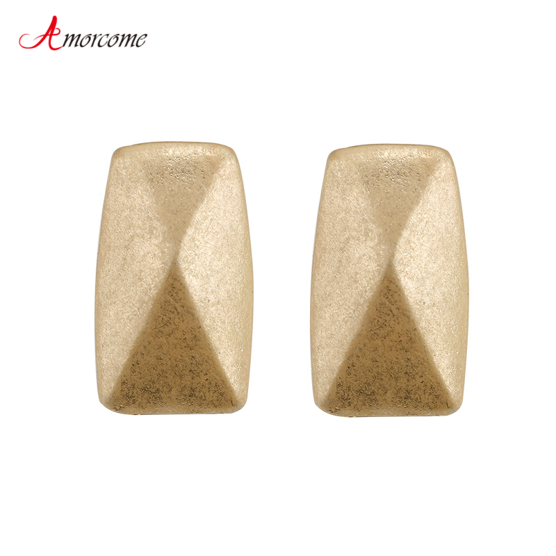 Amorcome Stereoscopic Rectangle Shape Alloy Stud Earring For Women Vintage Frosted Gold and Silver Earrings Girls Jewelry Gift