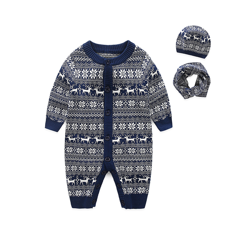 I.K winter baby clothes infant rompers jacquard knitting cotton jumpsuit newborn soft pajamas long-sleeves Christmas cloth