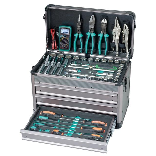 "Pro'skit  124PCS 1/2"".1/4"" Driver Socket Hand Tool Set Professional Electrician Car Vehicle Tool Kit 3"