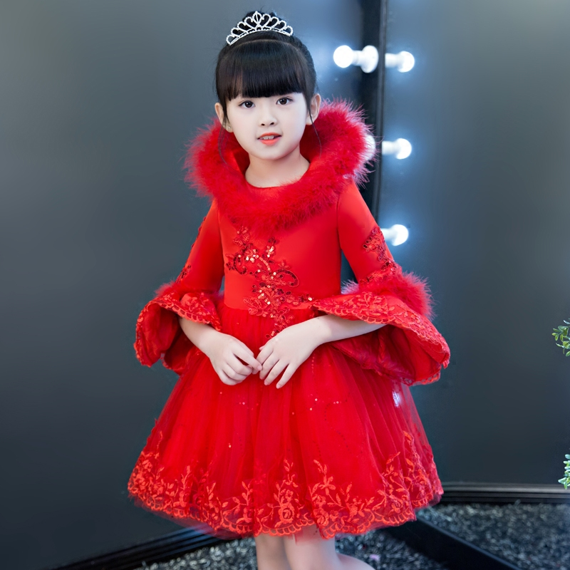 New Arrival Children Girls Embroidery Flowers Lace Princess Model Show Dress Kids Birthday Wedding New Year Dress For3~15years girls birthday wedding evening party embroidery flowers lace princess dress children kids model show costume pageant long dress