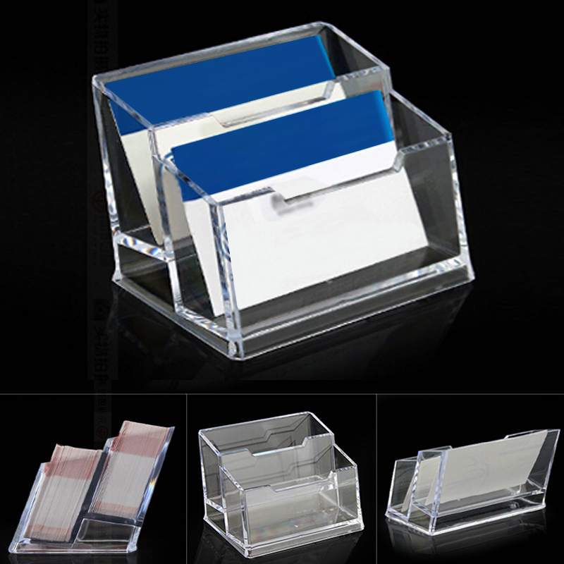 2pcs Double Layer Acrylic Business Card Holder School Office Destop ...
