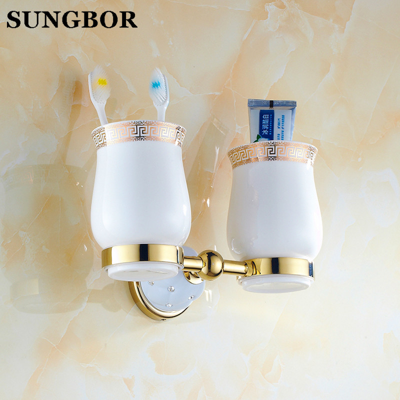 Wall Mounted Bathroom Double Ceramic Cup Holder Toothbrush Tumbler Holder Brass Gold/Rose Golden/Chrome Bathroom Holder TL-5202K fashion style double tumbler holder toothbrush cup holder brass base with gold finish glass cup bathroom accessories page 10
