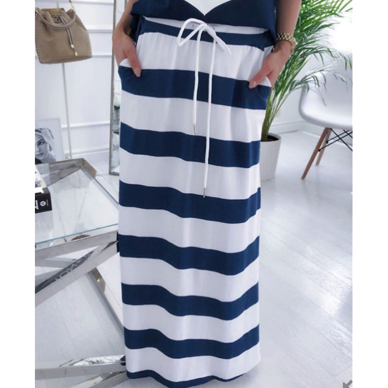 HTB18p haVY7gK0jSZKzq6yikpXaq - 2 piese set women Lounge Wear Hope Boat Anchor Print Off Shoulder T-Shirt Top And Regular Striped Skirt Sets Summer Two Piece