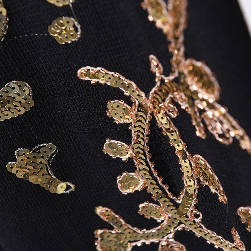 Tricotés De Nouveau Longues Costumes Broderie Mode Ensembles Black Automne Chandails Ultra Paillettes Femmes Femelle Pantalon Printemps CzwzpqS