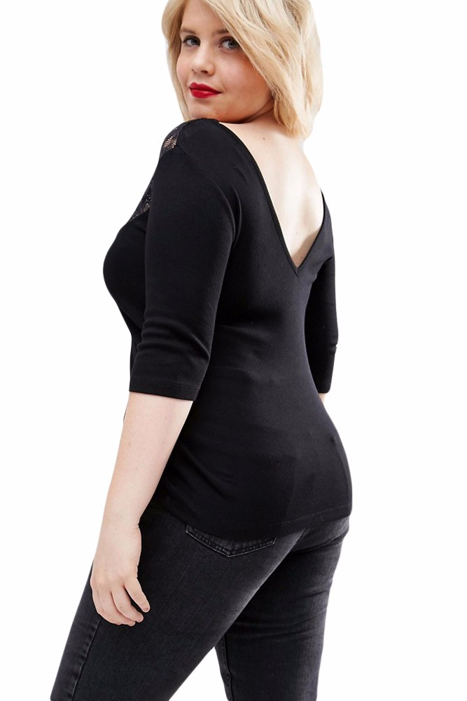 Plus-Off-Shoulder-V-Lace-Neckline-Spliced-Curve-3-4-Sleeve-Top-LC25914-2-3