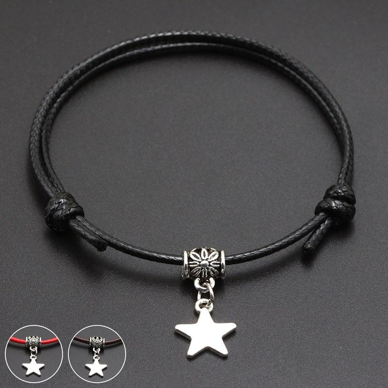 2020 New Cute Star Pendant Red Thread String Bracelet Lucky Black Coffee Handmade Rope Bracelet for Women Men Jewelry