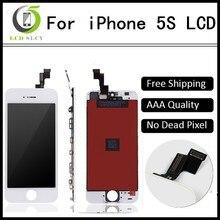10 adet/grup garanti AAA iPhone 5s için LCD dokunmatik ekran tam set meclisi siyah/beyaz renk
