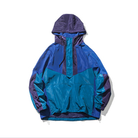 2018 Spring And Summer New Young Campus Wind Show Models Hit Color Stitching Hooded Windbreaker Jacket