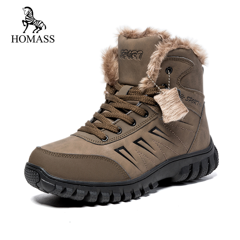 HOMASS 2018 New Winter Outdoor Sneakers Mens Snow Boots keep Warm Plush Boots Plush Ankle Snow Work Casual Shoes Big Size 39-48 new casual mens cheap winter shoes keep warm with fur outdoor male snow shoes plush boots fashion men s suede leather sneakers