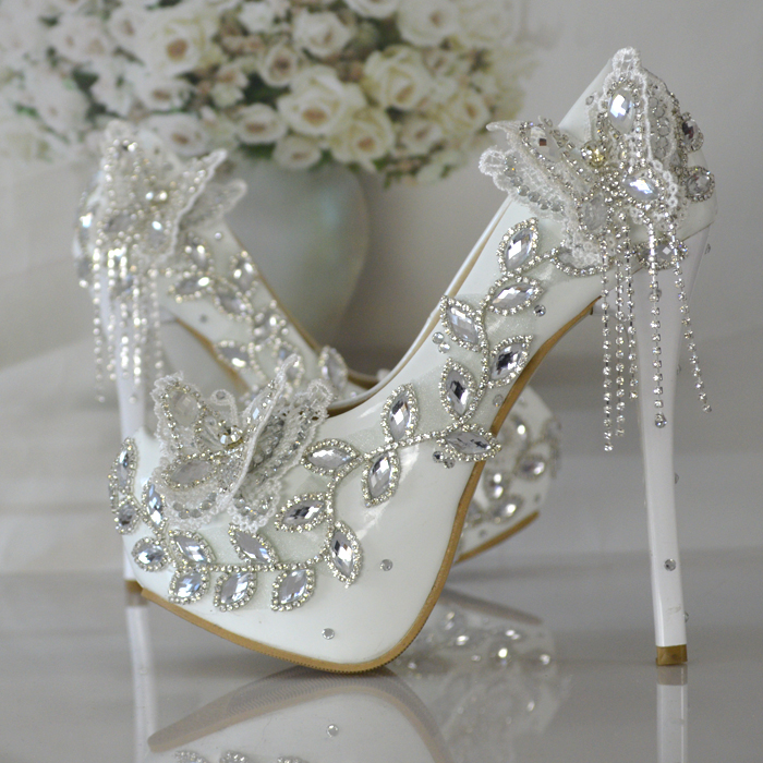 Super Flash Wedding Shoes Diamond Crystal Butterfly High