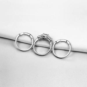 Image 3 - Newshe 3 Pcs Wedding Ring Set Klassieke Sieraden 925 Sterling Zilver Princess Cut Aaa Cz Engagement Rings Voor Vrouwen Maat 5 12
