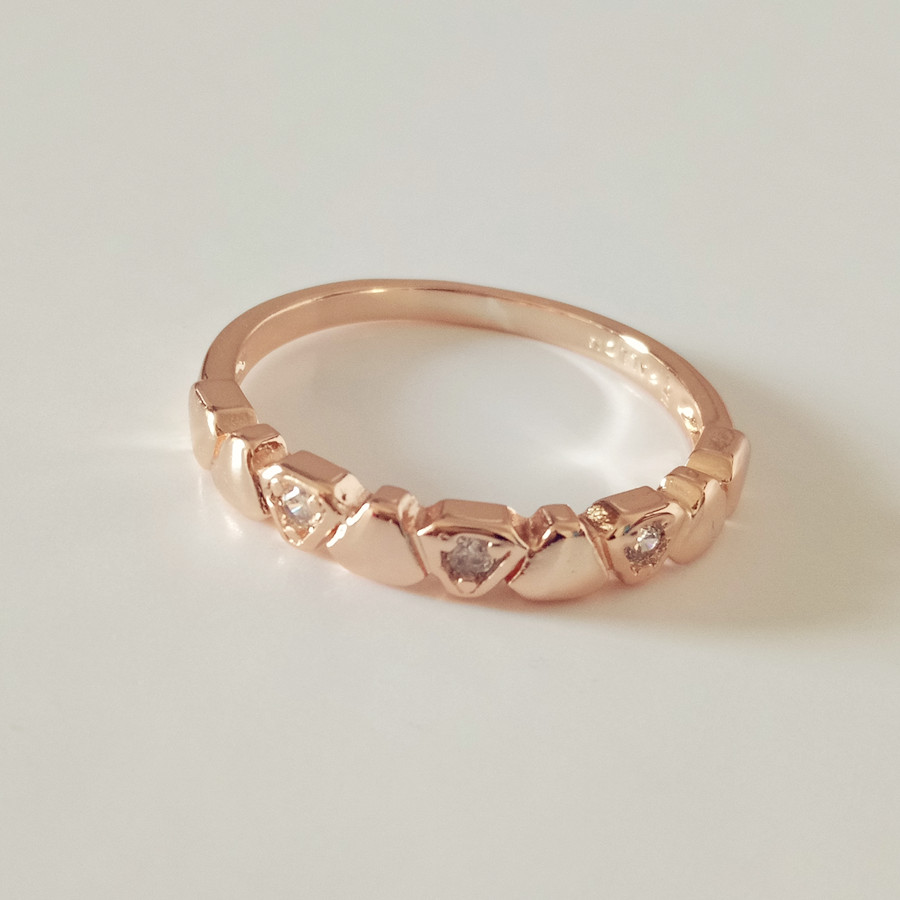 Anniebell 2018 New Fashion 585 Rose Gold Women Rings Trendy Simple