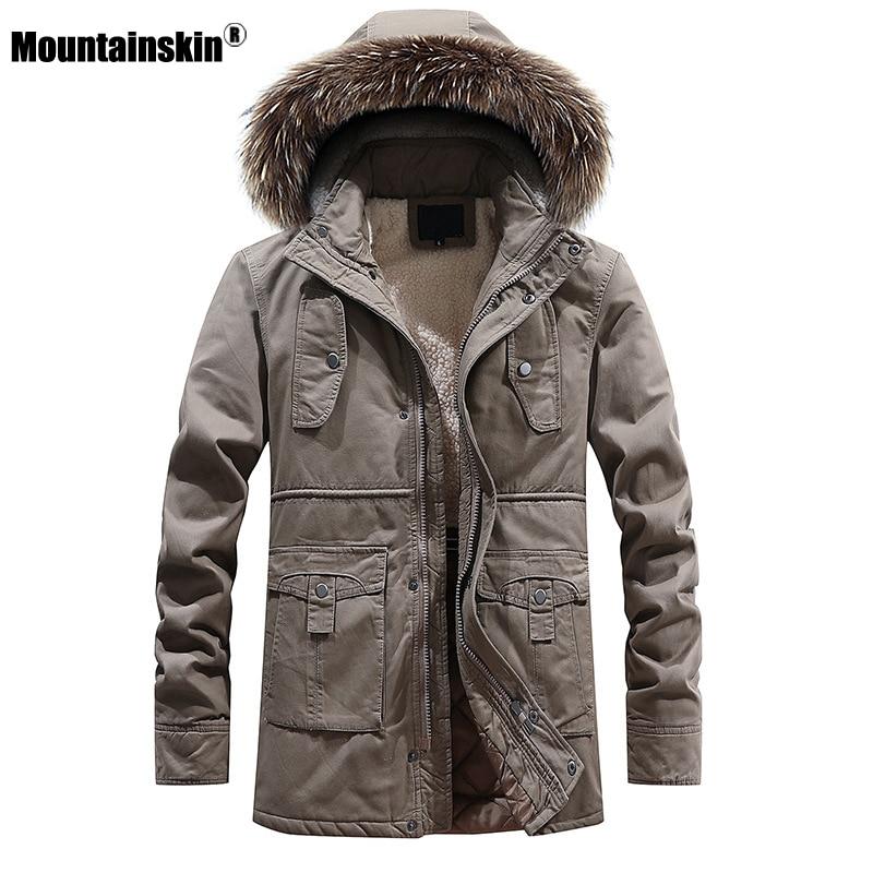 Mountainskin New Winter Men's Warm   Parkas   Thick Fleece Cotton Coat Long Male Jackets Hooded Coats Mens Brand Clothing SA604