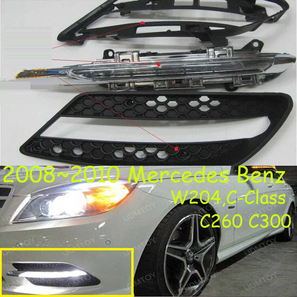 W204 daytime light;2008~2012, Free ship!LED,W204 fog light,2ps/set;W204,C260 C300 teana fog light 2pcs set led sylphy daytime light free ship livina fog light