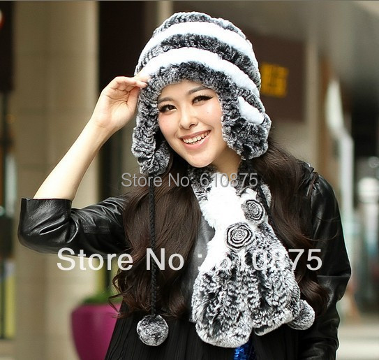 Woman Autumn High Quality 100% Rabbit Fur Knit Protection Ear Hats Female Winter Thick Warm   Skullies     Beanies   Stretch Fur Caps