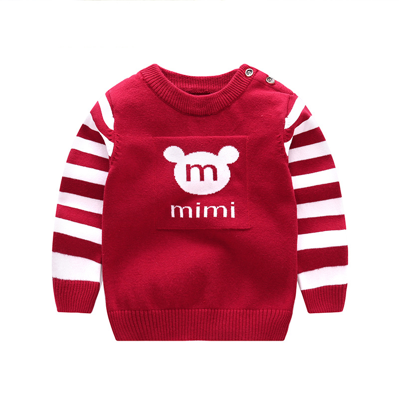 MIMI Letter Baby Boy Sweater Cotton Stripe Long Sleeve Baby Sweaters For Boys O-Neck Boys Pullover Sweater Winter Baby Clothing