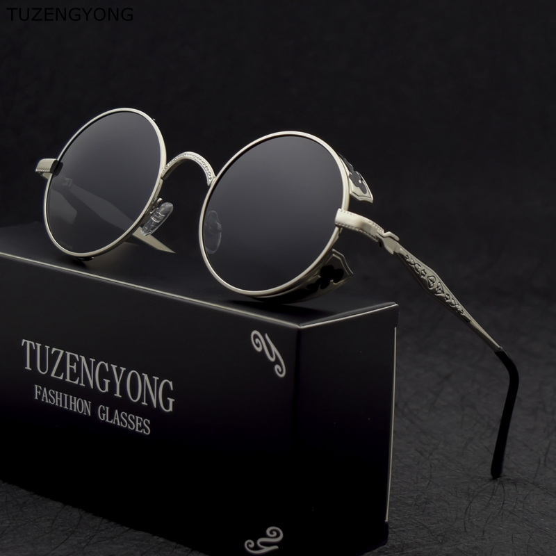 TUZENGYONG Fashion HD Polarized Solglasögon Män / Kvinnor Runda Metaller Carving Vintage Sun Glasses Gothic Steampunk Sunglass T371