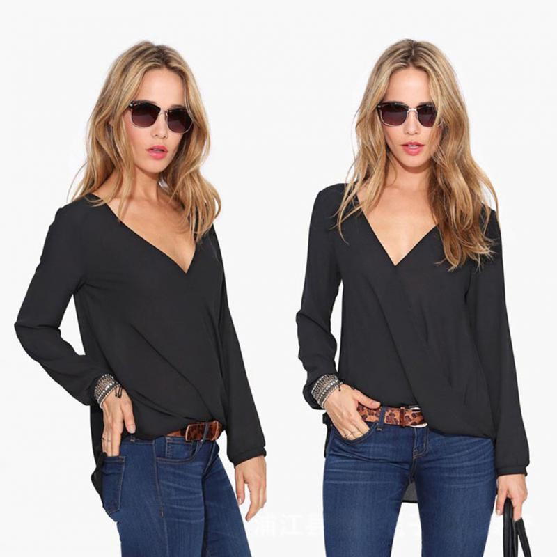 Sexy V Neck Chiffon Blouse Blusas Femininas Women Solid Shirt Autumn Winter Ladies Long Sleeve Blous Fashion Top Black/Red/White