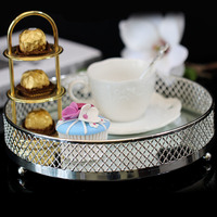 European Metal Plate With Silver Tray The Wedding A Snack Fruits Tea Tray Paper Cup Dessert Platform Exhibition Disc