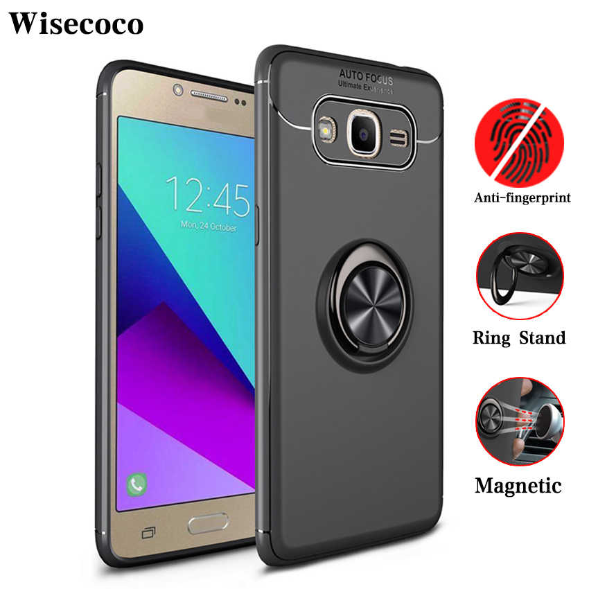 more photos 3d05e e4e86 Magnetic Case for Samsung Galaxy J2 Prime G530 J3 J5 J7 Pro 2017 360 Ring  Car Holder Stand Luxury Silicone Tpu Armor Back Cover