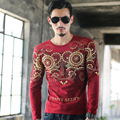 Boutique Noble Fashion Printed T Shirt Men Tee Luxury Brand Bronzing Shirts Tops Cotton Long sleeved Men Tops Tees Plus Size 4XL